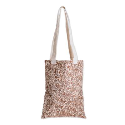 Abstract Motif Cotton Shoulder Bag in Sepia from Guatemala