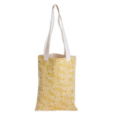 Abstract Motif Cotton Shoulder Bag in Maize from Guatemala