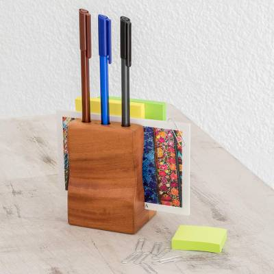 Wood pencil holder, 'Studious Waves' - Handmade Cedar Wood Pencil Holder from Guatemala