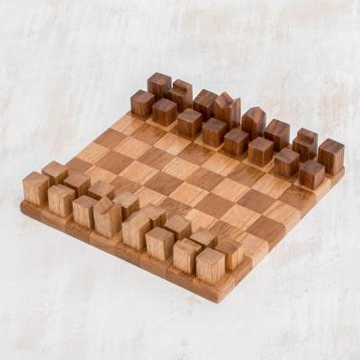 Wood chess set, 'Cityscape' (8 inch) - Modern Art Deco Wood Chess Set Crafted in Guatemala (8 In.)