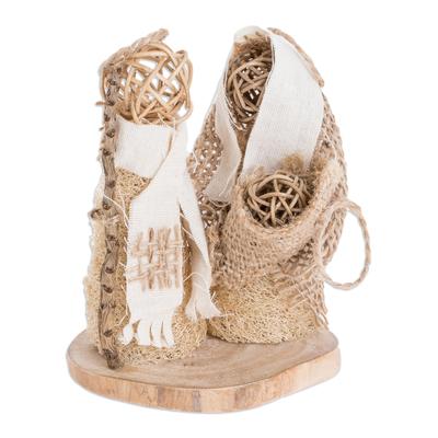 Natural Fiber Nativity Sculpture Crafted in El Salvador