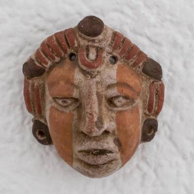 Ceramic mask, 'Mayan Queen' - Ceramic Wall Mask of a Mayan Queen from El Salvador