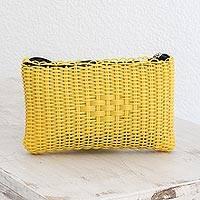 Recycled plastic cosmetic bag, 'Summer Daffodil' - Recycled Plastic Cosmetic Bag in Daffodil from Guatemala