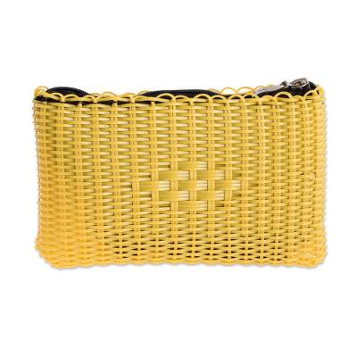 Recycled Plastic Cosmetic Bag in Daffodil from Guatemala