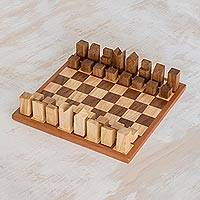 Wood chess set, 'Cityscape' (12 inch) - Modern Art Deco Wood Chess Set Crafted in Guatemala (12 In.)