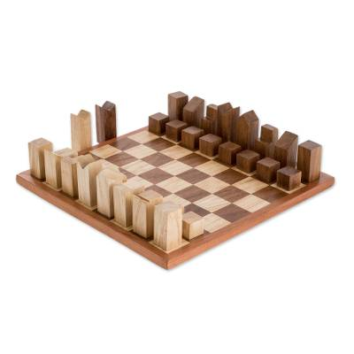 Modern Art Deco Wood Chess Set Crafted in Guatemala (12 In.)