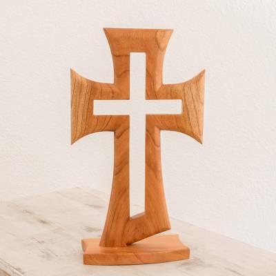 Wood sculpture, 'Light of the Cross' - Cedar Wood Cross Sculpture from Guatemala