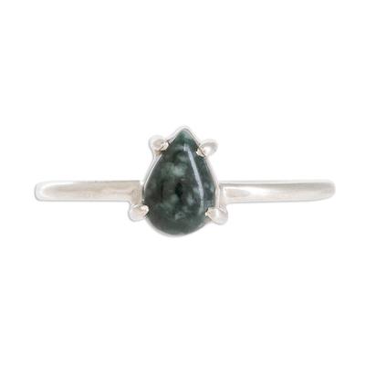 Sterling Silver Ring with Dark Green Guatemalan Jade