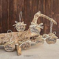 Recycled wood ornaments, 'Words of Christmas in Gold' (set of 6) - Recycled Wood Ornaments with Gold Ribbon (Set of 6)