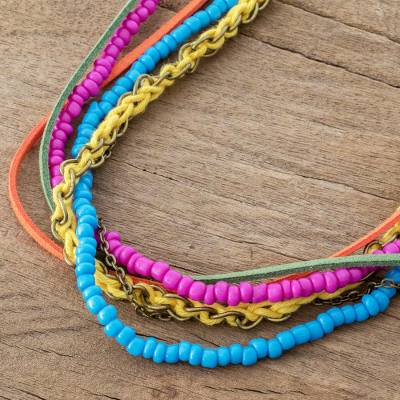 Long strand necklace, 'Celebration of Color' - Multicolored Strand Necklace Crafted in Costa Rica