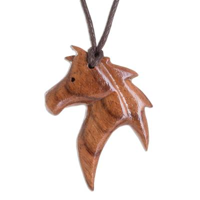 Conacaste Wood Horse Pendant Necklace from Costa Rica
