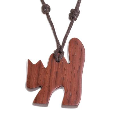 Estoraque Wood Cat Pendant Necklace from Costa Rica