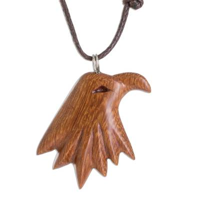 Madrecacao Wood Eagle Pendant Necklace from Costa Rica