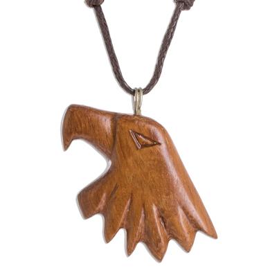 Conacaste Wood Eagle Pendant Necklace from Costa Rica