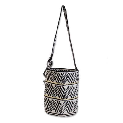 Black White Crocheted Shoulder Bag with Sequins