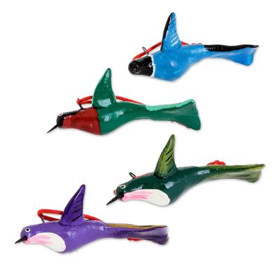 Ceramic ornaments, 'Lively Hummingbirds' (set of 4) - Hand-Painted Ceramic Hummingbird Ornaments (Set of 4)