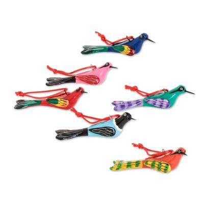 Ceramic ornaments, 'Flight of Love' (set of 6) - Hand-Painted Ceramic Bird Ornaments (Set of 6)