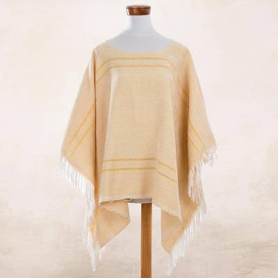 Cotton poncho, 'Geometric Morning' - Geometric Cotton Poncho in Daffodil and Eggshell