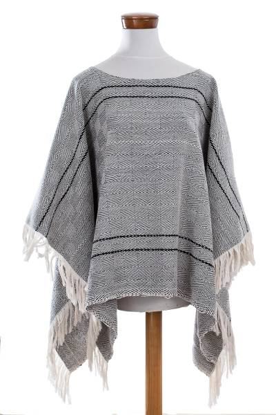 Geometric Cotton Poncho in Black and Eggshell