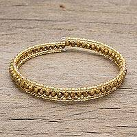 Crystal and glass beaded wrap bracelet, 'Golden Fiesta' - Gold-Tone Crystal and Glass Beaded Wrap Bracelet