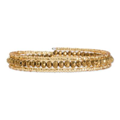 Crystal and glass beaded wrap bracelet, 'Golden Fiesta' - Gold-Tone Crystal and Glass Beaded Wrap Bracelet