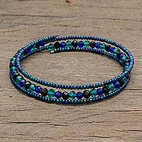 Crystal and glass beaded wrap bracelet, 'Glamorous Lakes' - Blue Crystal and Glass Beaded Wrap Bracelet from Guatemala