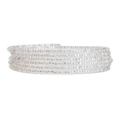 Glass beaded wrap bracelet, 'Brilliance of the Moon' - Glass Beaded Wrap Bracelet from Guatemala