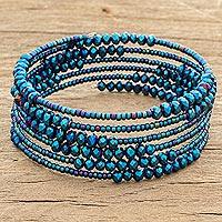 Crystal and glass beaded wrap bracelet, 'Lake Harmony' - Crystal and Glass Beaded Wrap Bracelet in Blue