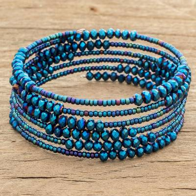 Crystal and glass beaded wrap bracelet, 'Lake Harmony' - Crystal and Glass Beaded Wrap Bracelet in Blue