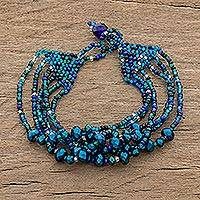Crystal and glass beaded strand bracelet, 'Nocturnal Brilliance in Blue' - Crystal and Glass Beaded Strand Bracelet in Blue