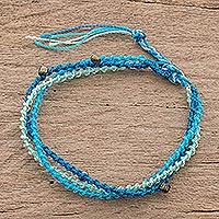 Glass beaded strand bracelet, 'Lakes of Atitlan' - Blue Glass Beaded Strand Bracelet from Guatemala