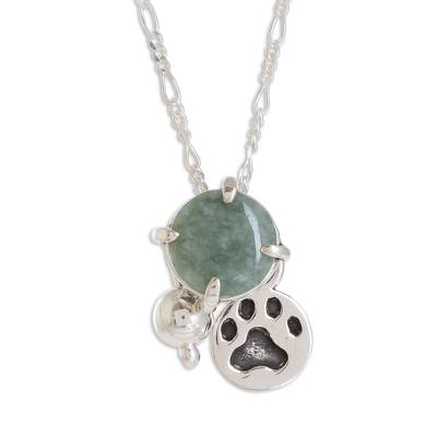 Jade pendant necklace, 'Animal Lover in Apple Green' - Animal-Themed Jade Pendant Necklace in Apple Green