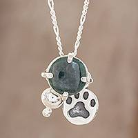Jade pendant necklace, 'Animal Lover in Dark Green'