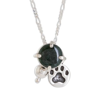 Jade pendant necklace, 'Animal Lover in Dark Green' - Animal-Themed Jade Pendant Necklace in Dark Green