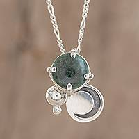 Jade pendant necklace, 'Waning Crescent in Dark Green'