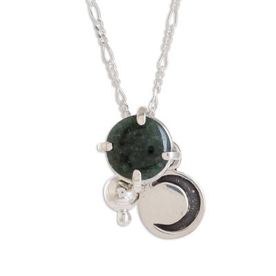 Jade pendant necklace, 'Waning Crescent in Dark Green' - Crescent Motif Jade Pendant Necklace in Dark Green