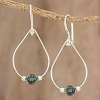 Jade dangle earrings, 'Dark Green Mystery of Nature' - Drop-Shaped Dark Green Jade Dangle Earrings from Guatemala