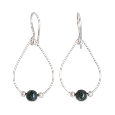 Jade dangle earrings, 'Dark Green Mystery of Nature' - Drop-Shaped Dark Green Jade Dangle Earrings from Guatemala