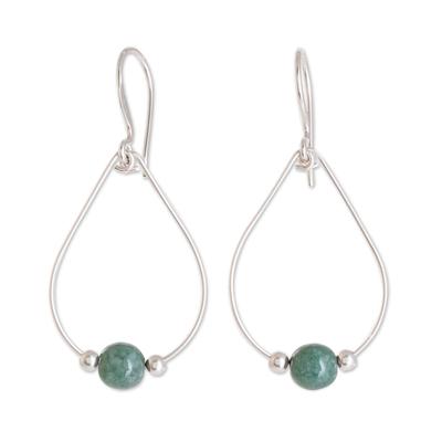 Jade dangle earrings, 'Apple Green Mystery of Nature' - Drop-Shaped Apple Green Jade Dangle Earrings from Guatemala