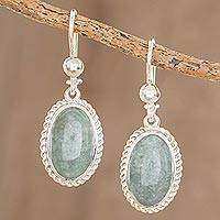Jade dangle earrings, 'Eternal Love in Apple Green' - Oval Apple Green Jade Dangle Earrings from Guatemala