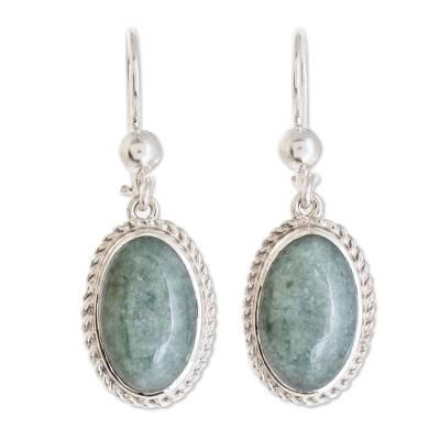 Jade dangle earrings, 'Eternal Love in Apple Green' - Oval Apple Green Jade Dangle Earrings from Guatemala