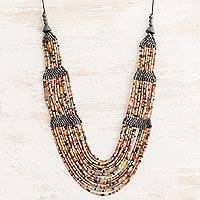 Ceramic beaded strand necklace, 'Subtle Breeze' - Ceramic Beaded Strand Necklace in Grey and Multicolor