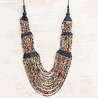Ceramic beaded strand necklace, 'Elegant Breeze' - Ceramic Beaded Strand Necklace in Blue and Multicolor