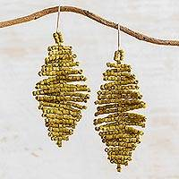 Ceramic beaded dangle earrings, 'Playful Breeze' - Handcrafted Yellow Ceramic Bead Rhombus Dangle Earrings