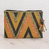Beaded coin purse, 'Paths and Mountains' - Zigzag Pattern Beaded Coin Purse from Guatemala