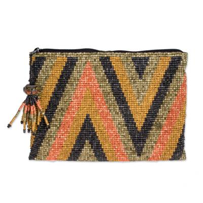 Zigzag Pattern Beaded Coin Purse from Guatemala