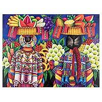 'Market Sale' - Signed Folk Art Market Painting from Guatemala