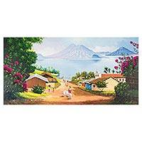 'Villages of Atitlan' - Signed Landscape Painting by a Guatemalan Artist