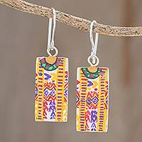 Wood dangle earrings, 'Xela Marvels' - Huipil-Inspired Wood Dangle Earrings from Guatemala