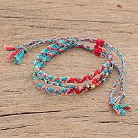 Glass beaded macrame strand bracelet, 'Solola Fiesta' - Glass Beaded Macrame Strand Bracelet from Guatemala